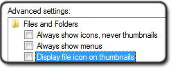 Disable overlay icons in Folder and search options
