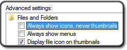 Enable thumbnails in folder and search options