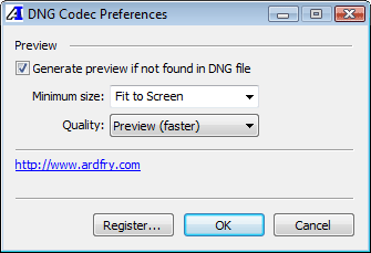 Prefrences Application for DNG CODEC